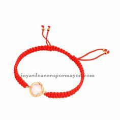 pulseras tejidas moda en color rojo con piedra cristal para mujer ACBTG00021