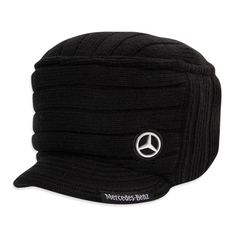 1903c66105d Mercedes Black Twill Cap Cap is unisex Acrylic knit fashion-forward cap  features flat top ribbed knit with visor. MB Star logo embroidered on crown  and MB ...