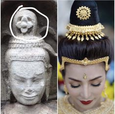 Cambodian Art, Gold Headpiece, Angkor Wat, Traditional Outfits, Hair Accessories, Asian, Costumes, Lady, Womens Fashion