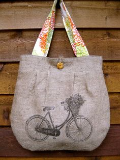Upcycled Burlap Market Bag - love this