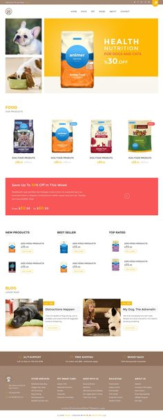 Animer is wonderful Pet Food eCommerce Bootstrap #Template is a clean and elegant design. Specially designed for pet related #websites. #petshop #petfood