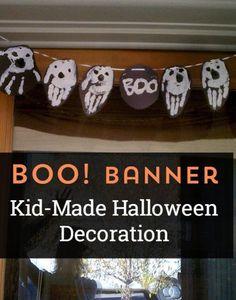 Boo! Super cute kid-made Halloween banner decoration. Make this handprint craft this Fall!