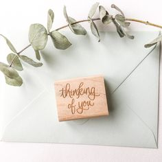 A beautifully written 'thinking of you' rubber stamp is a lovely accent on gift tags, wrap and correspondence of all kinds! Computer Font, Handmade Stamps, Sushi Design, Love Stamps, Artist At Work, Laser Engraving, Gift Tags, Hand Lettering, Thinking Of You