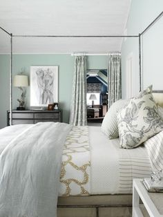 Beachy bedroom with bedding from www.stellastore.com and Palladian Blue by Benjamin Moore on the walls- Tara Seawright  www.OnlineInteriorDecorating.ca Interior Decorating and Design Online and in-person. San Diego and Toronto.
