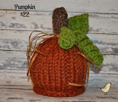 Pumpkin Hat - Orange - Baby - Halloween - Photo Prop - Sizes Newborn - Toddler. $22.00, via Etsy.