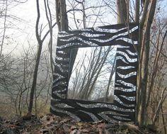 Specchiera quadrata nera decorata con tessere in mosaico di specchio - Zebra : Mosaici di micamosaico