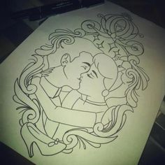 cinderella and prince charming framed tattoo .