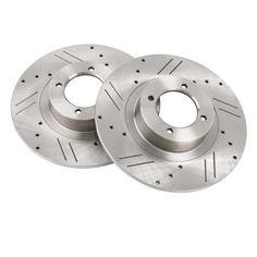 Pair New Drilled Slotted Brake Rotors Triumph Spitfire 1962-1980 TRW