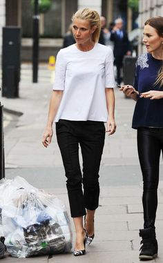 Two-tone from Celebrity Street Style Gwyneth Paltrow sports a billowing white blouse, cropped pants and cool printed pumps on a morning walk in London. Mode Outfits, Fashion Outfits, Womens Fashion, Fashion Trends, Fashion Ideas, Club Outfits, Girly Outfits, Ladies Fashion, Fall Outfits
