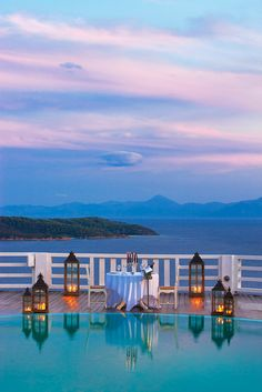Kivo Art Hotel & Suites. Amazing sunset by the sea. Pink sky. Paradise in Skiathos Greece.