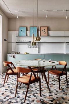 Retro flooring | w. marble rests, minimal kitchen shelves and cabinets, modern lighting, mid-century modern furniture