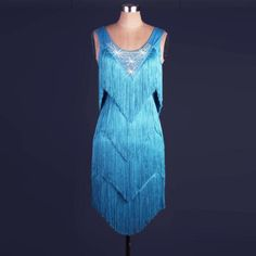 Blue Latin salsa tango Cha cha Samba Rumba Jive Ballroom Evening Dance Dress | Women's Dancewear | Dancewear & Accessories - Zeppy.io