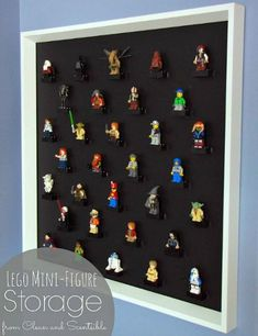 DIY Lego Mini-Figure Display - My boys LOVE Legos and they especially love their mini-figures. Their collection was getting a bit out of control, and their mini… Lego Display, Display Cases, Legos, Table Lego, Play Table, Mini Figure Display, Cadre Photo Diy, Diy Lego, Figurine Lego