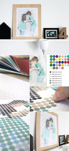Dot on - Bilder als Punkt-Kunstwerke selber kleben  #klebepunkte #doton #dots #art #diy #madeingermany #design