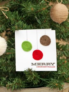 Yarn embellished ornament card, an easy and fun-to-make #Christmas craft for kids.  http://www.hgtv.com/handmade/13-handmade-holiday-cards/pictures/page-6.html?soc=pinterest