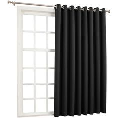 Sun Zero™ Evan Blackout Grommet-Top Patio Panel ($120) ❤ liked on Polyvore featuring home, home decor, window treatments, curtains, windows, black, blackout curtains, window curtains, black window curtains and window coverings