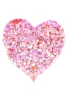 """Print 13"""" x 15"""" of  Watercolour Painting, Illustration - Valentine Heart Lace1"""