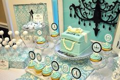 Lovely Tiffany dessert table #tiffanys #cake #desserttable