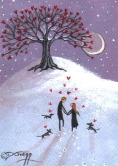 The Sweetheart Tree an ACEO Valentine painting by Deborah Gregg. $33.50, via Etsy.