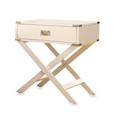 This eye-catching iNSPIRE Q One Drawer Accent Table/Cross Leg Nightstand features a fixed cross base, bright nickel bracket and a French dovetailed drawer. Stylish and contemporary design would look right at home in any modern interior setting.