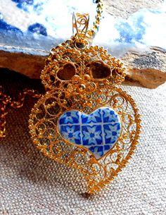 Portugal Sterling Silver Filigree in 24k Gold Bath Heart by Atrio,
