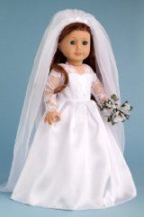 Princess Kate Royal Wedding Dress with White Leather Shoes Bouquet and Tulle Veil - Clothes for American Girl Dolls