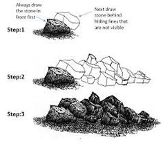 Image result for how to draw realistic boulders step by step