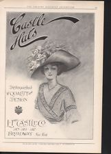 1910 CASTLE WOMAN HATS FASHION HOLDER STYLE FLOWER SEXY AD 15717