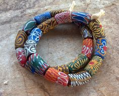 Extra Largre Traditional African Beads,African Powder Glass Beads,11 Extra Large(30mm)Ghana Krobo Beads,Old Style Ghana Beads,Tribal Beads by RedEarthBeads on Etsy