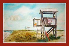 "22"" x 15"" Watercolor  Beach Watch"