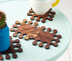 A set of four personalised, interlocking wood, walnut jigsaw coasters. Bring some fun to your home with these beautifully personalised jigsaw shaped walnut, wooden coasters. Perfect for a special couple on their Wedding Day, Anniversary, Valentines or moving to a new home. The