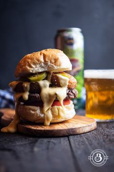Beer Cheese Burger with Onion Rings and Beer Pickled Jalapenos