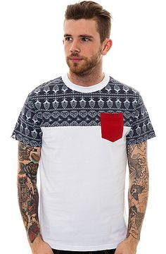 The Franz Pocket Tee in White and Denim Marl by Bellfield