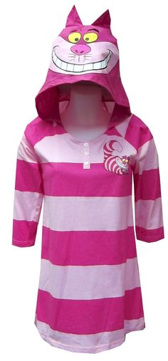 Alice In Wonderland Grinning Chesire Cat Night Shirt With Hood for women... wat cute!