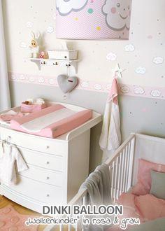 Trend Dinki Balloon Babyzimmer uWolkenkinder u rosa grau im Fantasyroom Shop online bestellen oder