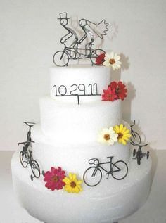 Tandem Wedding Cake Topper Names And Date Sign Six Bikes Set