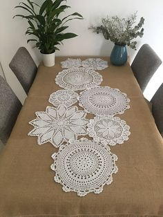 Hand crochet round floral doilies, gorgeous white doilies centerpieces for wedding, handmade round coasters, doilies for doily runner DIY Crochet Box, Crochet Round, Crochet Doilies, Hand Crochet, Crochet Poncho, Doily Patterns, Crochet Patterns, Tatting Patterns, Doily Art