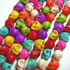 Natural skull of Howlite beads in multi colored for DIY making
