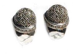 Sterling Silver Genuine Marcasite Thimble Open Hoop Earrings