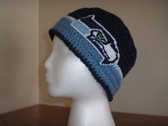 SEATTLE SEAHAWKS BEANIE HAT W LOGO HAND CROCHETED by dsl9723 etsy bf2e56ccc30