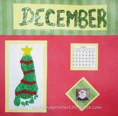 Handprint and Footprint Art : Footprint Christmas Tree for December's Calendar