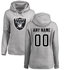 Oakland Raiders NFL Pro Line Women's Personalized Name & Number Logo Pullover Hoodie - Ash