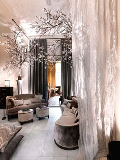 I love the idea of the trees indoors. With more greens and browns this could look like an indoor forest.