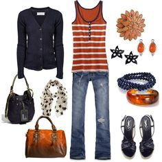SCORE ..look how many purses you get with this outfit!  navy and orange, created by kristen-344 on Polyvore