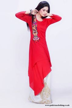 gorgeous red kurti with colorfull design in corner at right. Pakistani Outfits, Indian Outfits, Pakistani Clothing, Stylish Dresses, Casual Dresses, Women's Dresses, Bridal Dresses, Red Kurti, Dress Designs For Girls