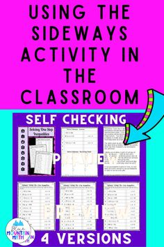 Do you love scavenger hunts in the classroom? Sideways is the same activity, self-checking without the movement around the classroom. The activity includes 4 versions of the worksheet, answer keys and a demo for teachers to use. Read all about it at the blog post.