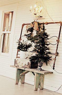 vintage Christmas porch decor