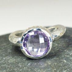 Ametista naturale rotondo taglio chakra 925argento Sterling anello UK h-z, argento, 63 (20.1), colore: Purple, cod. MSR-12-U