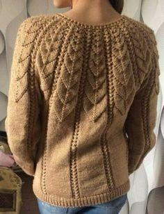 Knitted sweater with knitting needles with an openwork yoke performed by Lyubov Bocharova Sweater Knitting Patterns, Crochet Cardigan, Lace Knitting, Knitting Stitches, Knitting Designs, Knit Patterns, Knit Crochet, Knitting Needles, Knitwear Fashion