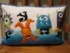 Adorable monster pillow for Ryan